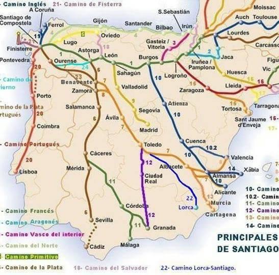 Karte der Jakobswege Caminos in Spanien