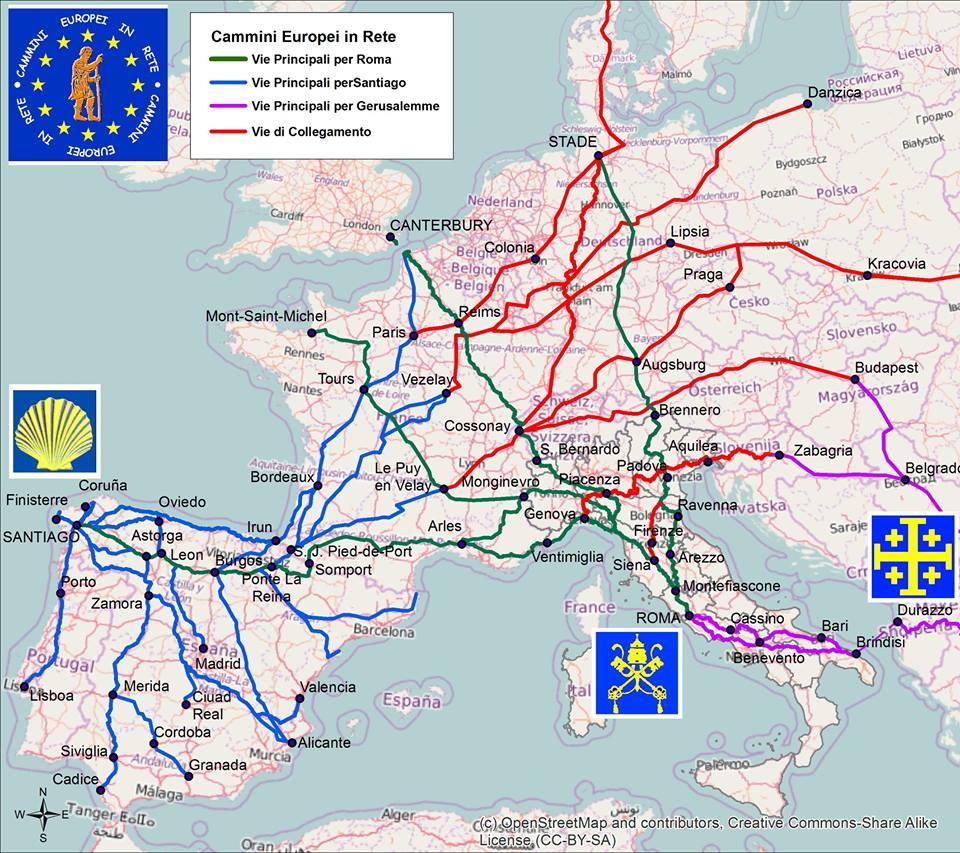 Karte der 3 Pilgerwege